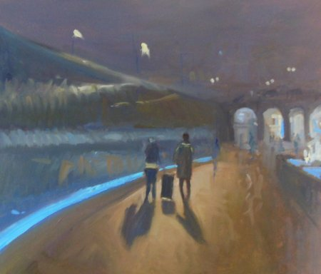 Picture of the Week: <p> The walk way to the station glows blue with the underground led lighting, guiding travellers to trains and their destinations</p>