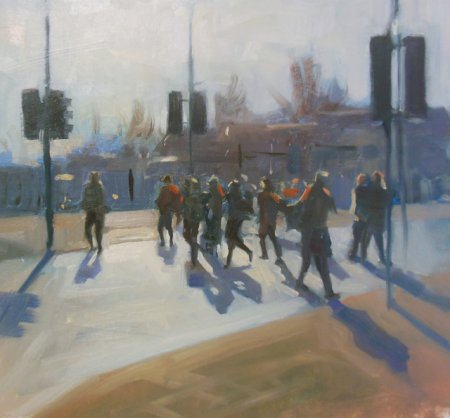 Picture of the Week: <p> Sunshine at last, and pedestrians crossing cast their long shadows on the road.</p>