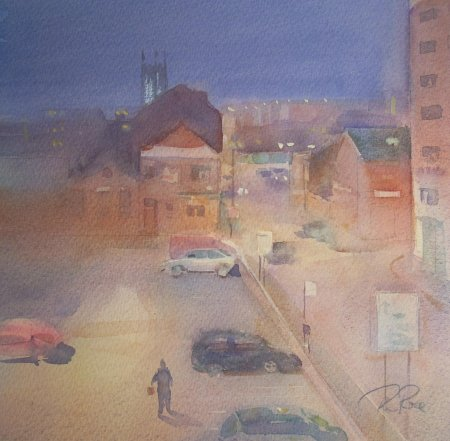 Picture of the Week: <p>I painted the view from my studio window one evening, it was interesting how a full car park became empty as the hours progresses, then a lone figure comes into view.</p>