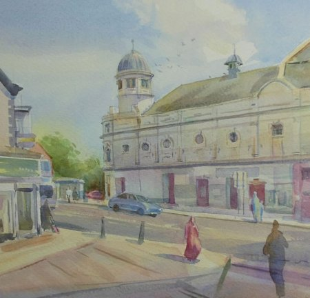 Picture of the Week: <p>The old abbeydale cinema, painted on a sunny afternoon. I was surrounded by local youth while painting this picture who made usefull suggestions as to whom should appear in it.</p>