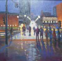 Picture of the Week: <p>I have been doing a series of paintings of a pedestrian crossing near the station, with various weathers and lighting effects. Here is the nightime version, with a wet pavement.</p>