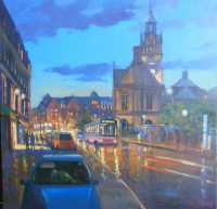 Picture of the Week: <p>Another of my wetlook pavement series, an oil painting of a view looking down Pinstone Street towards the Town Hall</p>