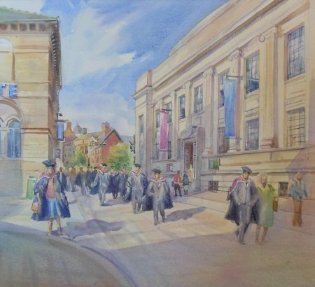 Picture of the Week: <p>The students are coming back for their graduation ceremonies, this was a view I sketched last year on Surrey Street and painted this week.  The flowing gowns made interesting shapes.</p>