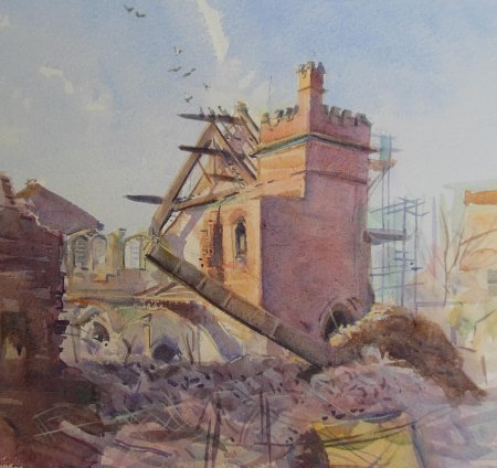 Picture of the Week: <p>A contrast to last weeks painting. This time a building being taken down; an old Church on Sharrow Lane. I have watched this demolition taking place and realised it would all be over by the end of this week, so I had to act fast.</p>