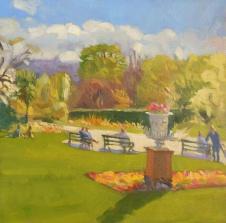Picture of the Week: <p>Back in the Botanical Gardens again, this time an oil study of people sitting on the benches in the warm sunshine that we have had recently.</p>