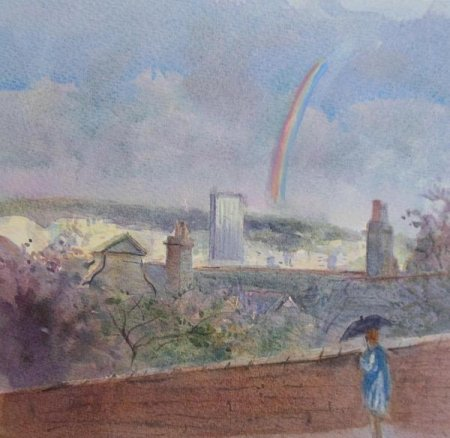 Picture of the Week: <p>I was painting a view of the City from Heeley. The painting started in sunlight and suddenly storm clouds appeared and heavy rain lashed my car. Then I saw the rainbow and had to change the painting completely to capture the moment.</p>