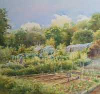 Picture of the Week: <p>Summer is here and I had a glorious day painting on the Hangingwater Allotments this week. I saw one gardener treading the earth in his bare feet..oh happy man, I rather envied him.</p>