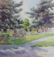 Picture of the Week: <p>Abbey Lane cemetery covers a large area and looking for a location I was attracted to the shadows under these conifers, watching the changing lighting as I was painting.</p>
