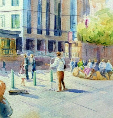 Picture of the Week: <p>A lunchtime crowd sit in the sun listening to a young man singing songs by Neil Young. He had a good voice and I hope he collected sufficient coinage.</p>