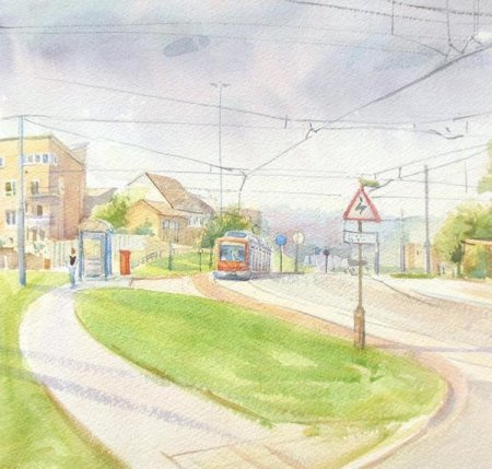 Picture of the Week: <p>The Supertram climbs up Norfolk Park to join City Road. The roads are a lattice work of wires and gantrys. There are great views of the City centre from this hill.</p>